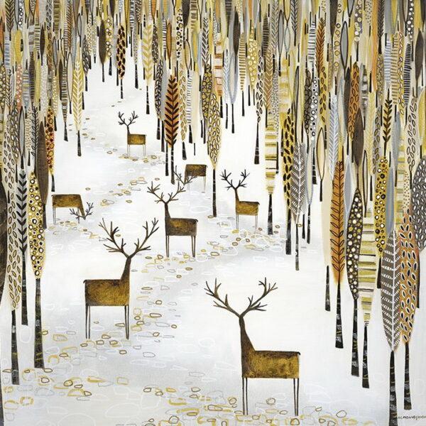 'Golden Gathering' Artwork 60cm x60cm, frame 64cm x64cm...£750